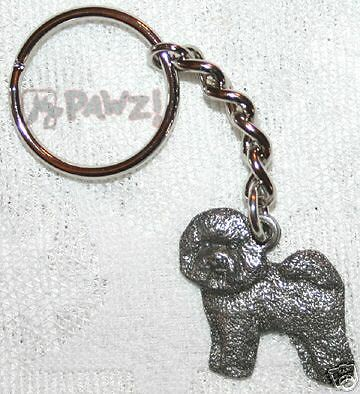 BICHON FRISE Dog Fine Pewter Keychain Key Chain Ring