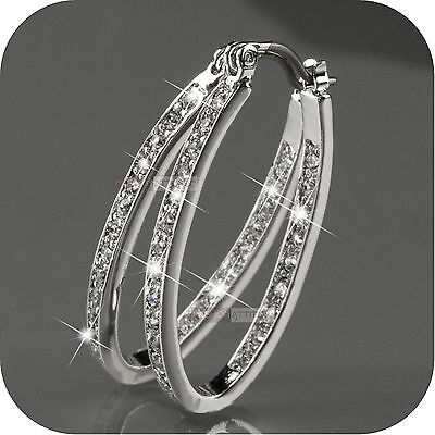 18k white gold gp hoop stud earrings made with SWAROVSKI crystal  oval hoops