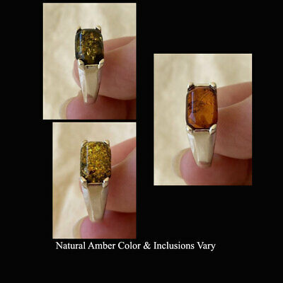 BALTIC GREEN MULTICOLOR or HONEY AMBER & STERLING SILVER HANDMADE UNISEX RING