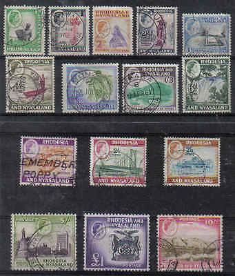 STAMPS  from  RHODESIA & NYASALAND 1959 Q. ELIZ. 1/2d to 1£   (FU)  lot  241