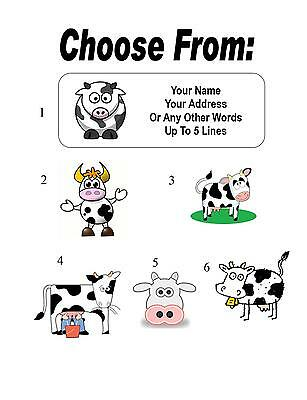 30 Cartoon Cow Personalized Address Labels