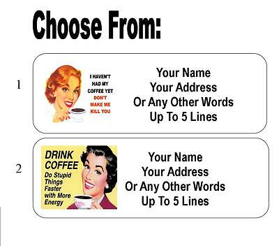 30 Coffee Retro Humor Personalized Address Labels