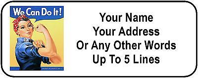 30 Rosie the Riveter Personalized Address Labels