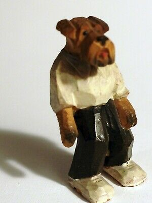 OLD wood carve Airedale Irish terrier dog Boxing Referee Lake TErrier wire fox