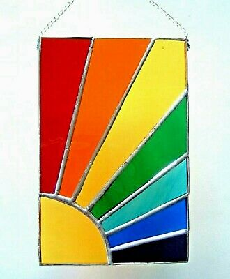 Rainbow Sunshine stained glass panel suncatcher window hanging chakra xmas gift