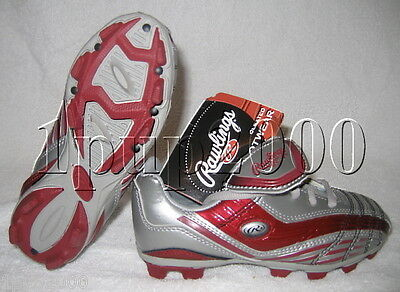 be1dbc20a RAWLINGS SOCCER CLEATS with Wilson Shin Guards Boys sz 6 Black Red ...