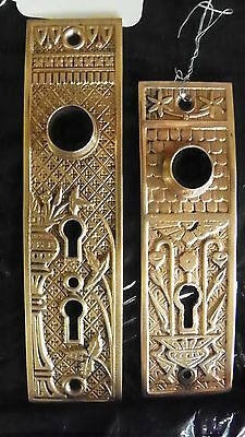 2 Polished Cast Bronze Eastlake Door Plates 1 Dbl Key 1 Single Key 3965J 4854Q