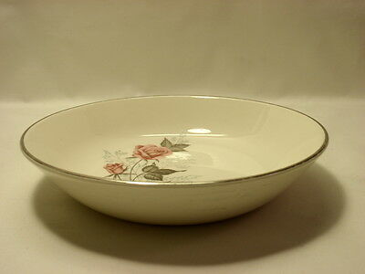 Taylor Smith and Taylor Coupe Soup Bowl Pink Roses on Ivory Platinum Trim