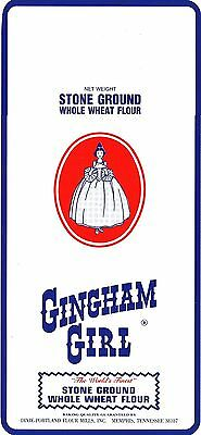 Old label GINGHAM GIRL FLOUR with girl pictured Memphis Tennessee new old stock