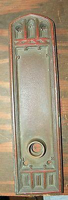Oversized Gothic Cast Bronze Door Backplate In Original Patina  4810A