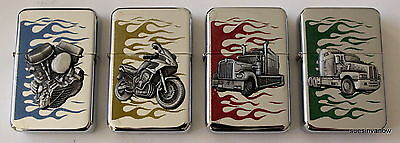 SET of FOUR Flip top Refillable Lighter Trucker Flames Biker Engine Semi Silver