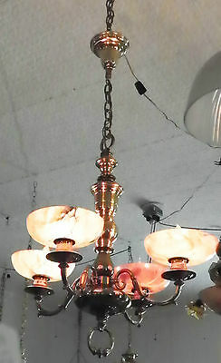 Antique Restored Brass Light With Alabaster Shades 4866
