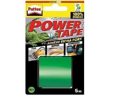 RUBAN ADHESIF EXTRA FORT VERT 5 M POWER TAPE PATTEX resiste pression ETANCHE