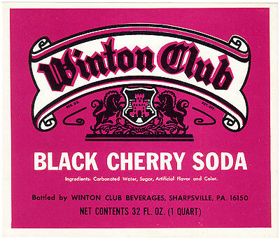 Old soda pop bottle label WINTON CLUB BLACK CHERRY Sharpsville Pa new old stock