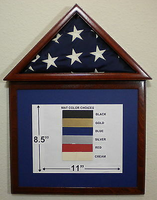 3 X 5 Mahogany Matboard Flag Display Case/frame Capital Eagle Scout Usa Military
