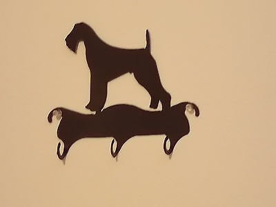 AIREDALE 3 HOOK  LEASH or KEY HOLDER WROUGHT IRON