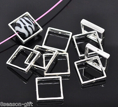 100 Silver Plated Square Bead Frames 20x20mm