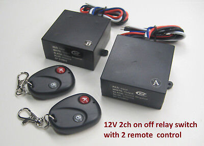 MSD-INC 12V ON OFF 2 ch 12 Vout DC contact relay remote control A B switch RM102