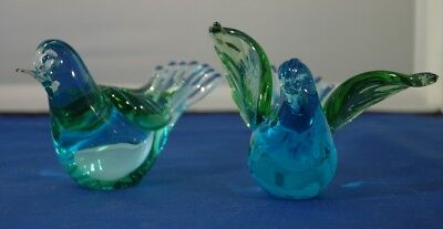 Beautiful Pair of Art Glass Birds in Green and Blue - 1 with Wings Up and 1 down