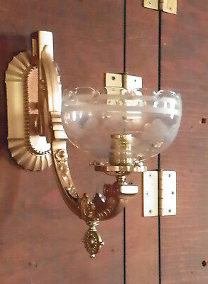 Antique Wall Sconce With Antique Etched Shade 4910