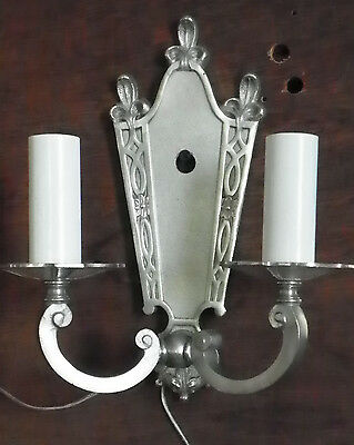 Double Candlestick Nickle Plated Wall Sconce 4911