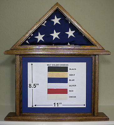 3 X 5 Oak Document And Flag Display Case Frame Capital American Usa Military Box