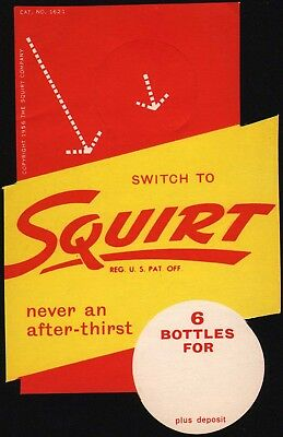 Vintage bottle ringer SQUIRT soda pop dated 1956 unused new old stock n-mint