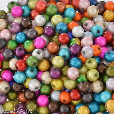 """500 Mixed Miracle Acrylic Round Spacer Beads 6mm(1/4"""")"""