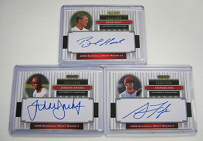 3 2008 Razor Signature Series Auto Rookie Cards SP RC:Holt/Danks/Fife #/1499