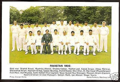 Pakistan Team 1996 Tour England Official Tccb Cricket Postcard