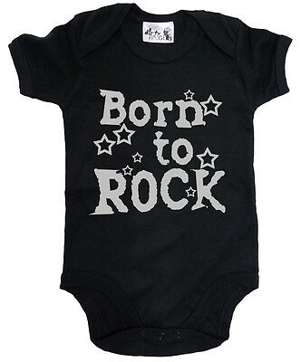 """Dirty Fingers """"Born to Rock"""" Baby Bodysuit Babygrow Music Heavy Metal Clothes"""