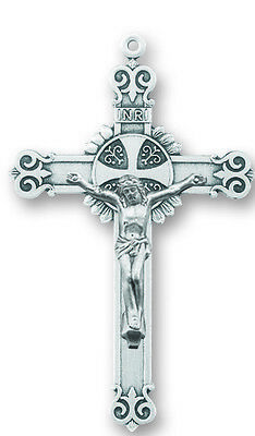 "Needzo LTG 1 3/4"" Sterling Silver Antique Style Rosary Cross Crucifix Pendant"