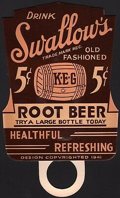 Vintage soda pop bottle topper sign SWALLOWS ROOT BEER die cut 1941 unused nrmt