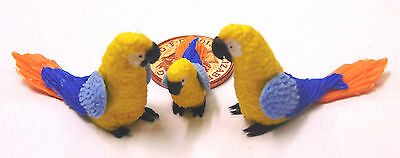 1:12 Scale 2 Parents & A Baby Yellow Parrot Doll House Miniature Exotic Bird P13
