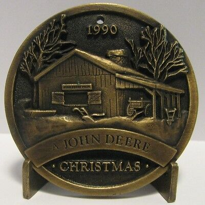 *John Deere 1990 Limited Ed Brass  Plow Barn Wagon Christmas Ornament Mfg 1993