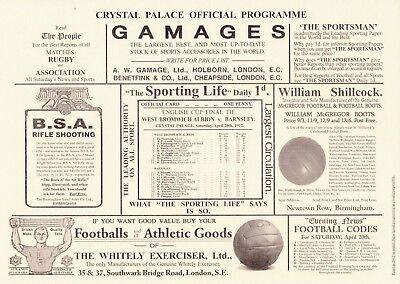 FA CUP FINAL REPRINT 1912 Barnsley v West Brom