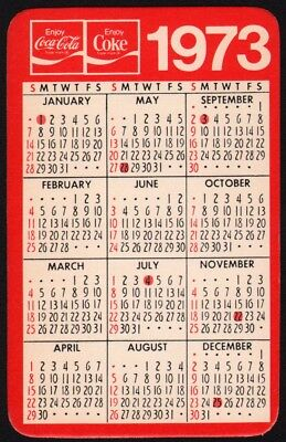Vintage pocket calendar COCA COLA 1973 Its the Real Thing new old stock n-mint+