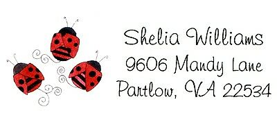 3 red ladybugs Address Labels