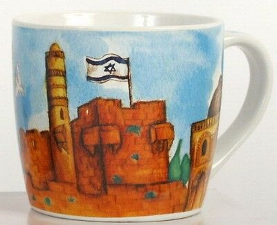 JERUSALEM Cup/MUG- Western Wall, Holy Temple Mount/Dome of the Rock, Israel Flag