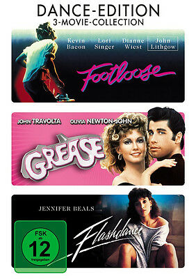 3 MOVIE COLLECTION * GREASE / FLASHDANCE / FOOTLOOSE - DANCE EDITION - # NEU OVP