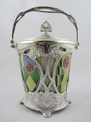 Art Nouveau Silver Plated Red, Yellow And Green Barrel