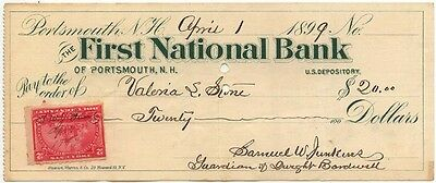 1899-1900 Check FIRST NATIONAL BANK, Portsmouth, New Hampshire