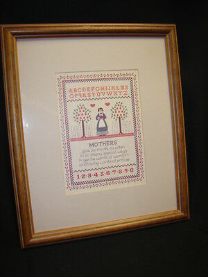 Vintage Framed Homco Sampler Abc Mother's  Print Picture