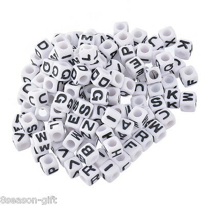 300 Mixed Alphabet /Letter Acrylic Cube Beads 7x7mm