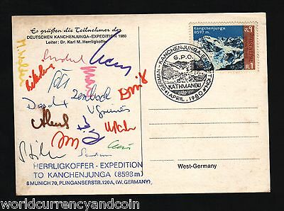 Nepal 1980 Germany German Herrligkoffer Kanchenjunga Expedition Signd Picture Pc