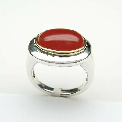 Ladies Ring With Oval Cabochon Carnelian In Sterling  Silver With 14K Gold