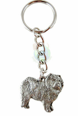 Chow Chow Keychain Fine Pewter Silver Key Chain Ring