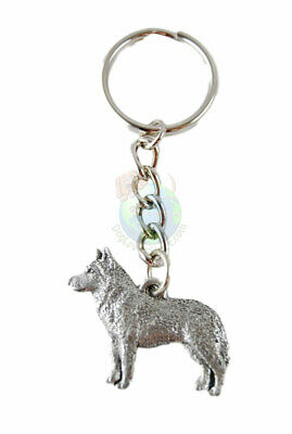 Husky Dog Keychain Fine Pewter Silver Key Chain Ring