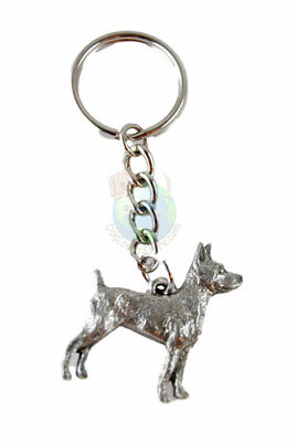 Rat Terrier Dog Fine Pewter Silver Keychain Key Chain Ring