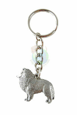 Sheltie Keychain Silver Pewter Key Chain Ring